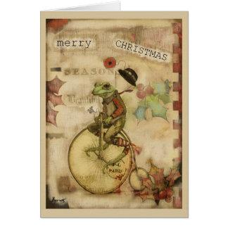 Vintage Frog on Bicycle Bowler Hat Christmas Card