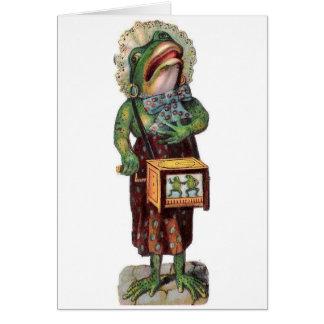 Vintage Frog Organ Grinder, Card