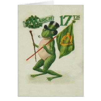 Vintage Frog Shillelagh Pipe St Patrick's Day Card