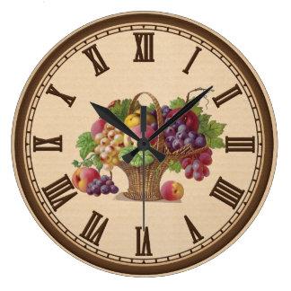 Vintage Fruit Basket kitchen wall clock