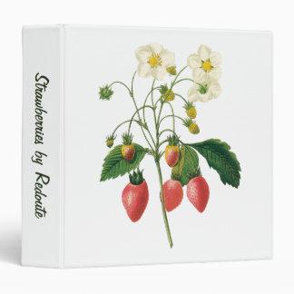 Vintage Fruit Berries Food Strawberries by Redoute 3 Ring Binder