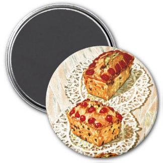 Vintage fruit cake illustration 3 inch round magnet