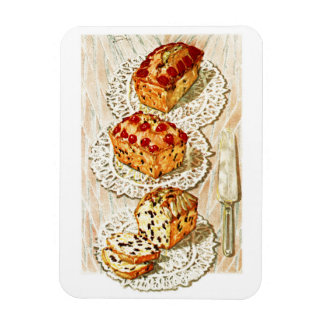Vintage fruit cake illustration rectangular photo magnet
