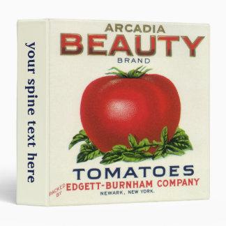 Vintage Fruit Crate Label, Arcadia Beauty Tomatoes 3 Ring Binder