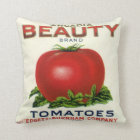 Vintage Fruit Crate Label, Arcadia Beauty Tomatoes Throw Pillow