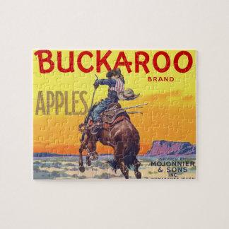Vintage Fruit Crate Label Art, Buckaroo Apples Jigsaw Puzzle