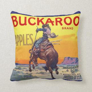 Vintage Fruit Crate Label Art, Buckaroo Apples Throw Pillow