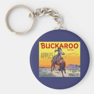 Vintage Fruit Crate Label Art, Bucking Cowboy Basic Round Button Keychain