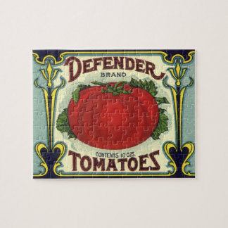 Vintage Fruit Crate Label Art, Defender Tomatoes Jigsaw Puzzle
