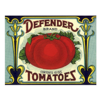 Vintage Fruit Crate Label Art, Defender Tomatoes Postcard