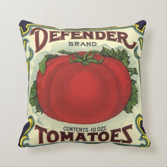 Vintage Fruit Crate Label Art, Defender Tomatoes Throw Pillow