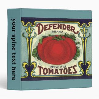 Vintage Fruit Crate Label Art, Defender Tomatoes Vinyl Binder