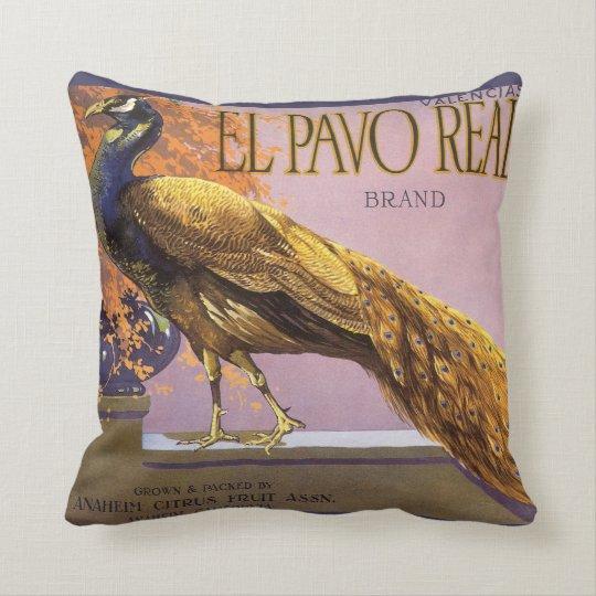 Vintage Fruit Crate Label Art El Pavo Peacock Bird Throw Pillow