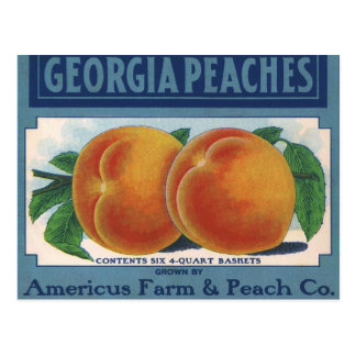 Vintage Fruit Crate Label Art, Georgia Peaches Post Card