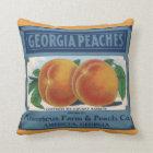 Vintage Fruit Crate Label Art, Georgia Peaches Throw Pillow