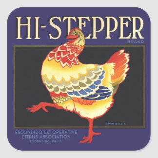Vintage Fruit Crate Label Art, Hi Stepper Chicken