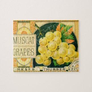Vintage Fruit Crate Label Art, Muscat Grapes Puzzles