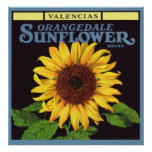 Vintage Fruit Crate Label Art Orangedale Sunflower Poster