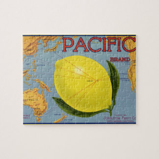 Vintage Fruit Crate Label Art Pacific Lemon Citrus Jigsaw Puzzle