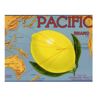 Vintage Fruit Crate Label Art Pacific Lemon Citrus Postcard