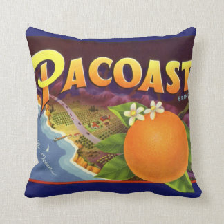 Vintage Fruit Crate Label Art, Pacoast Oranges Throw Pillow