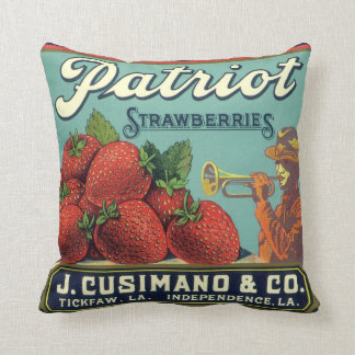 Vintage Fruit Crate Label Art Patriot Strawberries Throw Pillow
