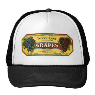 Vintage Fruit Crate Label Art, Seneca Lake Grapes Trucker Hats