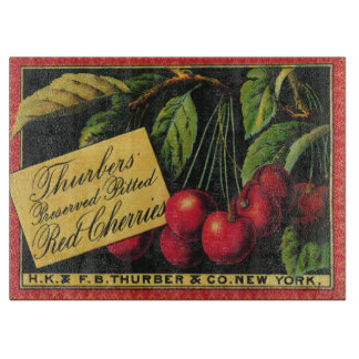 Vintage Fruit Crate Label Art, Thurber Cherries Cutting Board