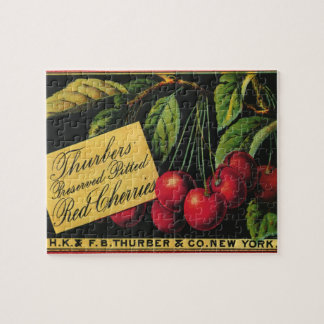 Vintage Fruit Crate Label Art, Thurber Cherries Jigsaw Puzzle
