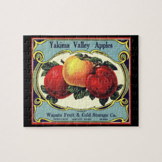 Vintage Fruit Crate Label Art Yakima Valley Apples Jigsaw Puzzle