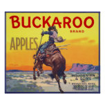 Vintage Fruit Crate Label with a Cowboy on a Horse Poster