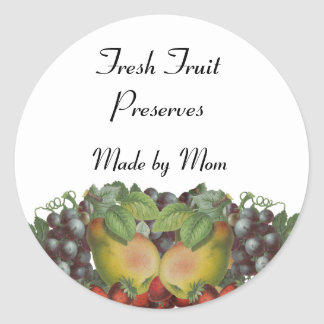 Vintage Fruit Custom Canning Label Round Sticker