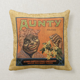 Vintage Fruit Label Aunty and Smokey Jim's Throw Pillow