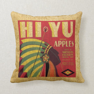 Vintage fruit label Hi Yu apples and Full oranges Throw Pillow