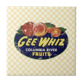 Vintage Fruit Label Peaches, Funny Gee Whiz Tile