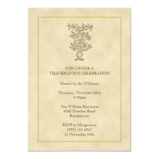 Vintage fruit tree Thanksgiving fall invitation