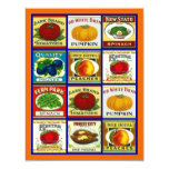 "Vintage Fruit Veggie Labels Blank Party Invitation 4.25"" X 5.5"" Invitation Card"