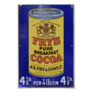 Vintage Fry's Pure Breakfast Cocoa Advertisement Poster
