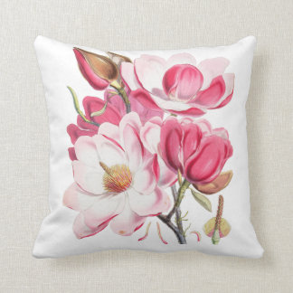 Vintage fuchsia blush pink elegant floral throw pillow
