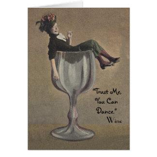 Vintage Fun Birthday Card Lady in Wine Glass Trust