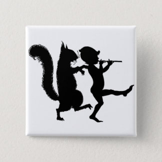 Vintage Fun Magical Squirrel and elf Silhouette 2 Inch Square Button