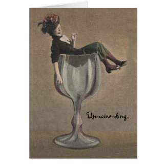 Vintage Fun Travel Note Card Lady in Wine Glass