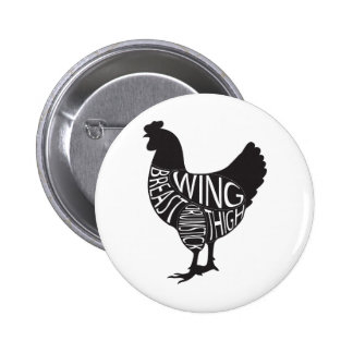 Vintage Funny Chicken Design Buttons