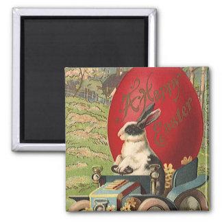 Vintage Funny Easter, Bunny Rabbit Egg Automobile Magnet