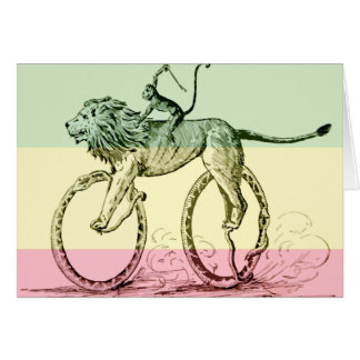 Vintage Funny Lion Monkey Whip Snakes Bicycle Card
