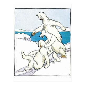 Vintage Funny Polar Bears Postcard
