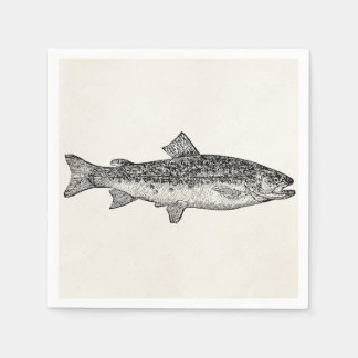 Vintage Gar Fish - Aquatic Fishes Template Blank Paper Napkins