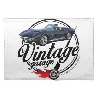 Vintage Garage with Black Corvette Placemat
