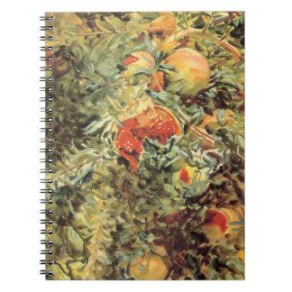 Vintage Garden Art, Pomegranates II by Sargent Spiral Note Book