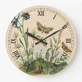 Vintage Garden Insects, Butterflies, Caterpillars Large Clock